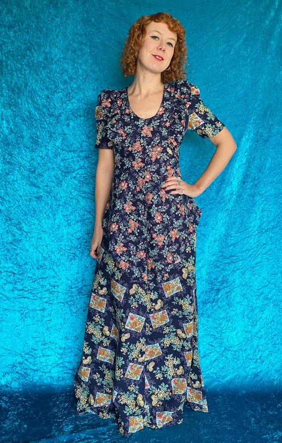 Vintage 1970s floral cotton maxi dress