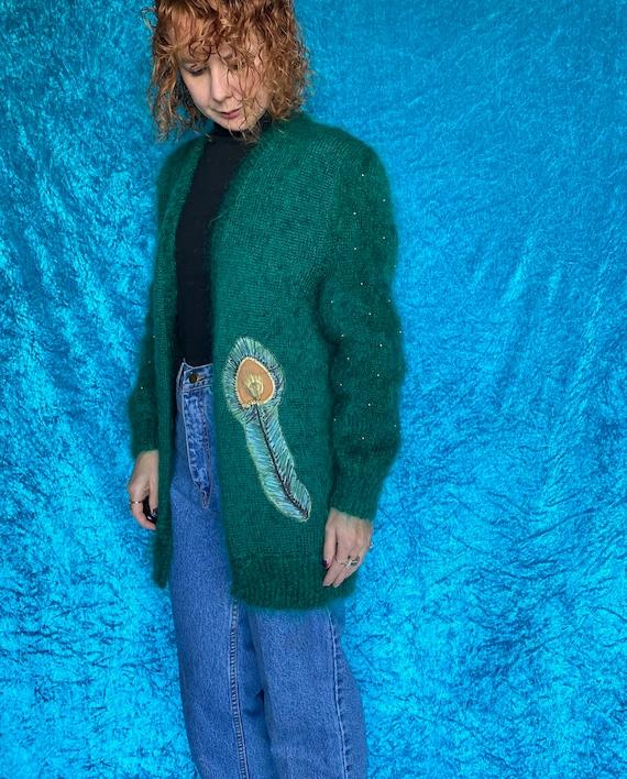 Vintage Mohair Peacock Cardigan