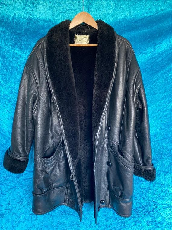Vintage Black leather sheepskin aviator coat