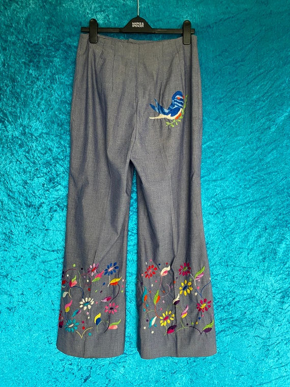 Vintage Embroidered 70s Floral Flared Trousers