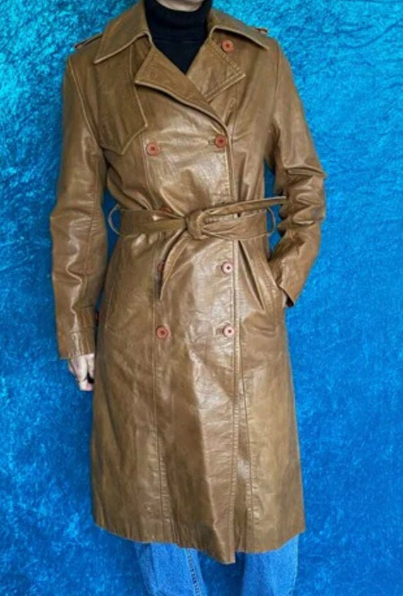 Vintage 90s Leather Trench Coat