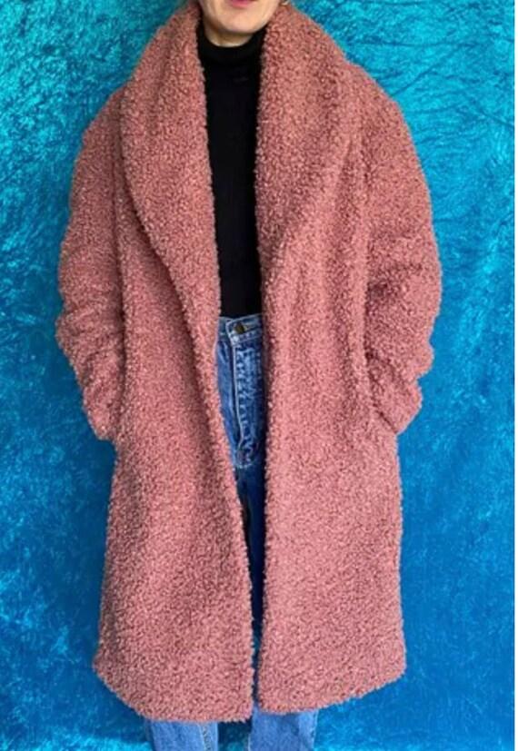 Vintage Faux Fur Dusty Pink Teddy Coat