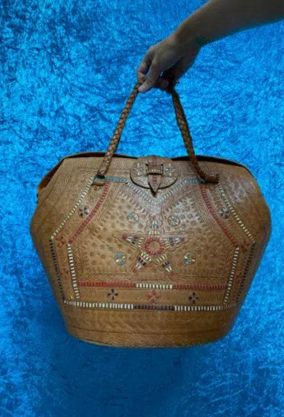 Vintage Moroccan Leather Bucket Bag