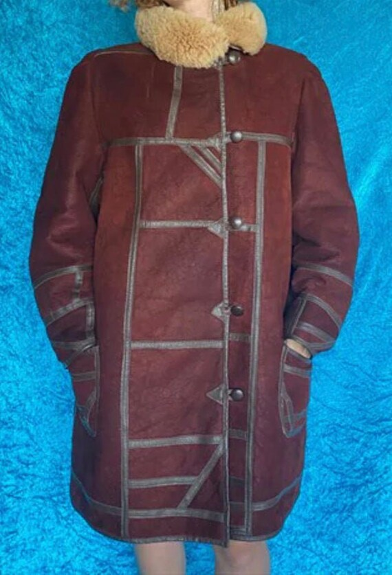 Vintage Brown Faux Fur Sheepskin Coat