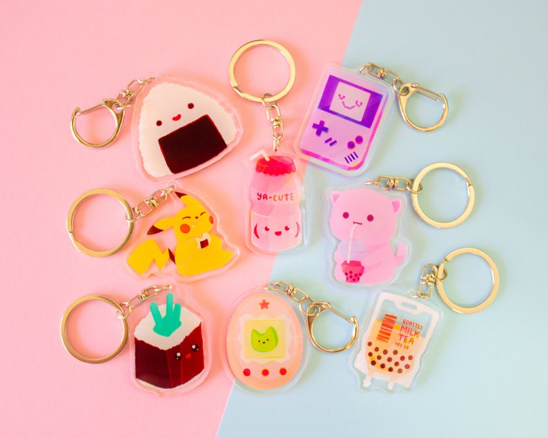 Cute Eco Friendly Keyrings Double Side Charms gift Boba Bubble Any 3 at discount
