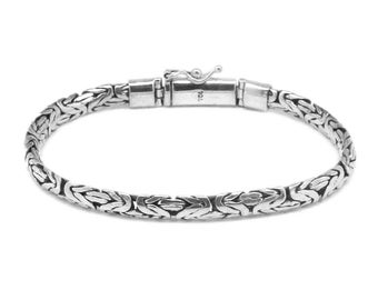 """Handmade 4 mm 925 Sterling Silver BYZANTINE Chain Bracelet 7"""", 7.5"""", 8"""" and 8.5"""""""