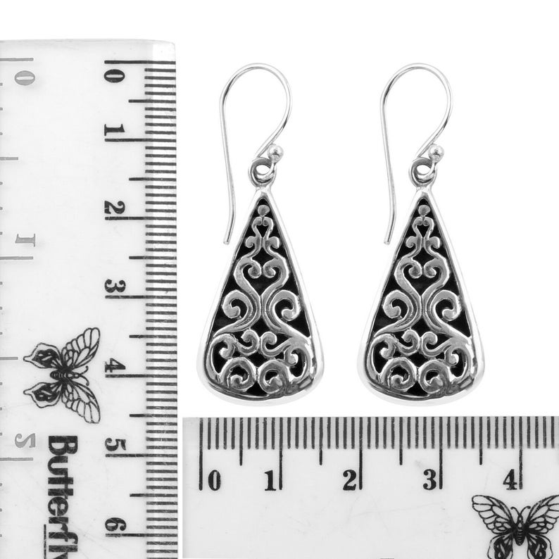 4 Cm Handcrafted Detailed Dangle Hook Earrings in 925 Sterling Silver