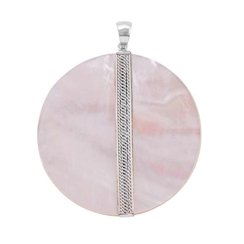 Handmade Bali Design Mother Of Pearl Pendant in Sterling Silver 925-6 CM