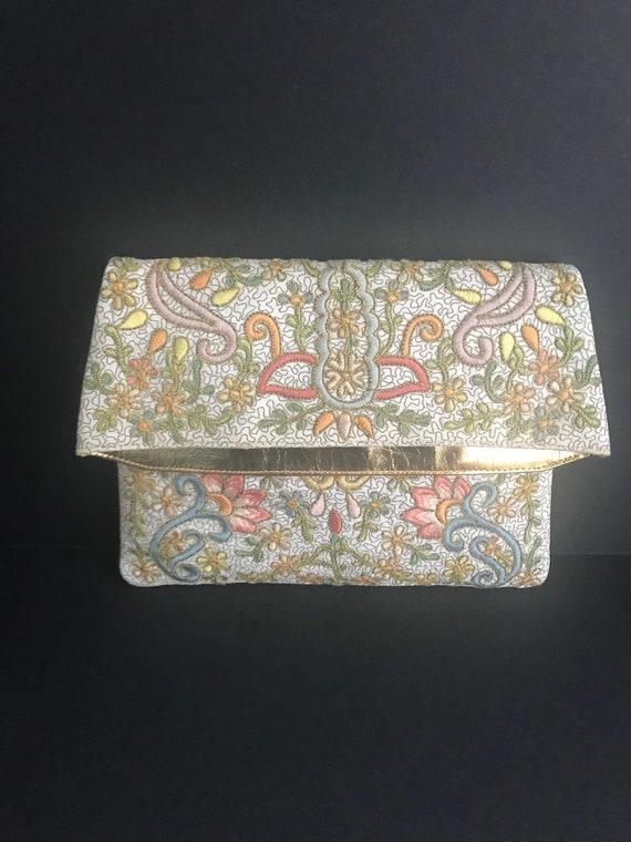 Vintage 1950s Marketa Embroidered Floral Clutch