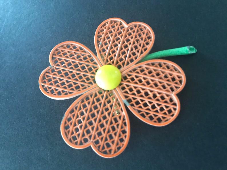 Vintage Orange metal flower brooch