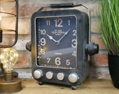 Vintage Radio Clock - Retro Desk Top Clock - Black Metal Large Clock 7223