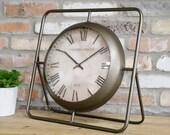 Antique Brushed Metal Tripod Clock - Vintage Aged Clock - Desk Table Top Large Clock - Industrial Clock 6076