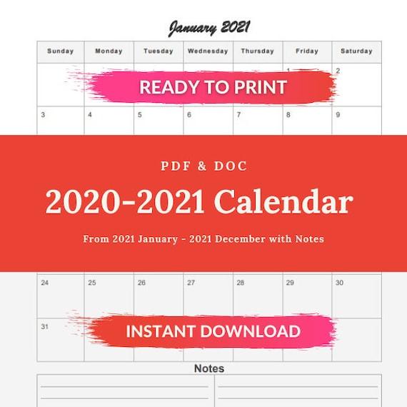 Printable Calendar 2021 | January 2021 - December 2021 Printable Calendar Template | printable calendar monthly planner