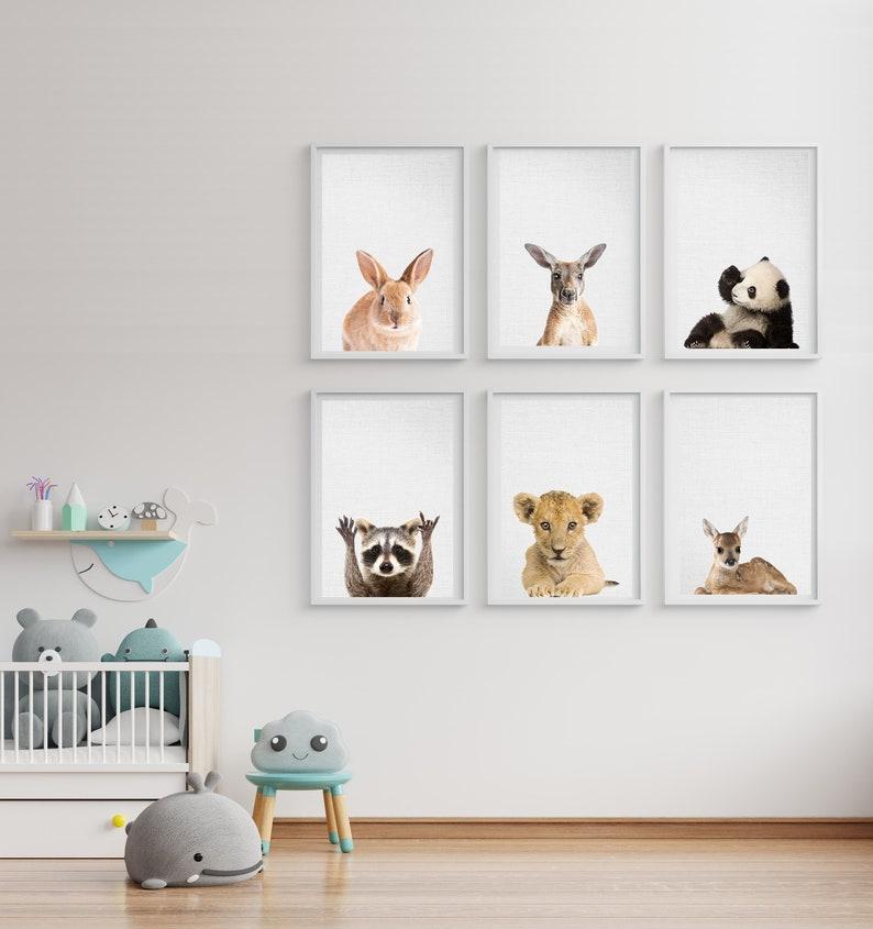 Woodland Nursery Animals Baby Animals Set 6 Bunny Bear Deer image 0