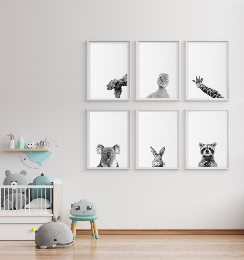 Woodland Nursery Animals Black White Baby Animals Set Dog Duck image 0