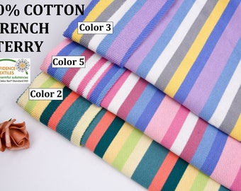 100% Cotton French Terry Yarn Dyed Stripes Fabric By The Yard/Knit Sport Clothing, S1042
