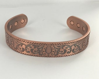 Copper Healing lucky horse shoe design magnetic bangle cuff bangle bracelet gift  isolation present for Mum arthritis relief GIFT BOXED
