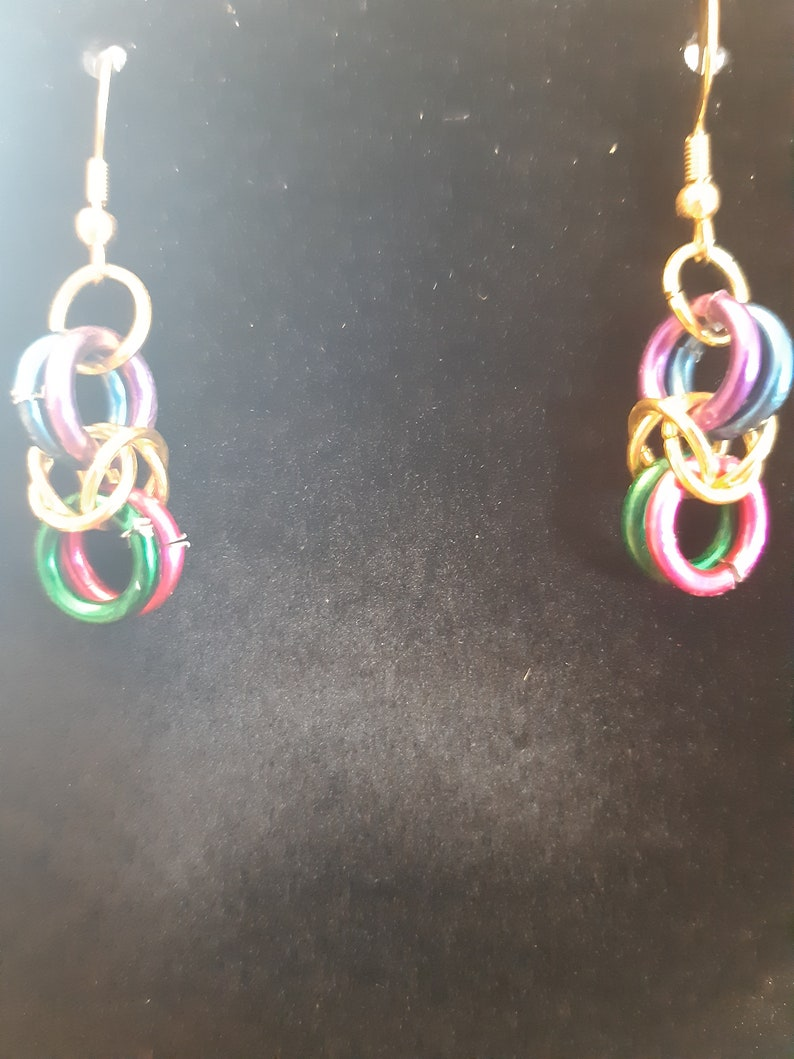 Benzene rainbow necklace and earrings