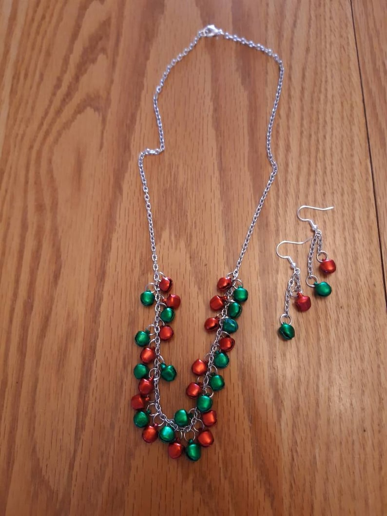 Christmas bells necklace and earrings