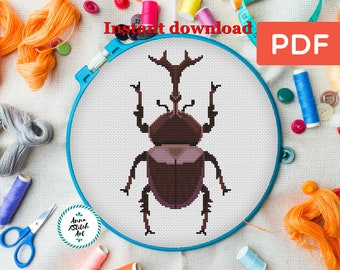 Beetle cross stitch, bug cross stitch pattern, insect cross stitch, botanical cross stitch, nature counted cross stitch, easy cross stitch