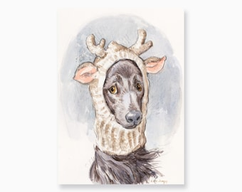 """Christmas Pup, Watercolor Painting by Lita Judge, 5 x 7"""""""
