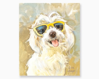 "Summer Fun, 5 x 6"" Gouache & Watercolor Painting by Lita Judge"