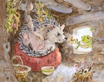 "Hedgehog Found Her Smile, Art Print by Lita Judge, 9 x 7"""