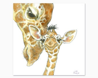 Baby Giraffe and Mom, Art Print from the cover of Born in the Wild by Lita Judge, 10 x 10 inches