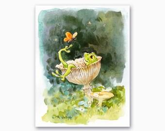 "Froggy's Mushroom Spa, Original Watercolor Painting by Lita Judge, 7 x 9"""