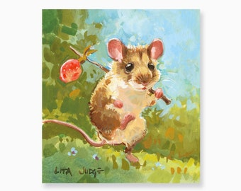"Pan on a Picnic: 3.75 x 4"" Original Gouache & Watercolor Painting by Lita Judge"