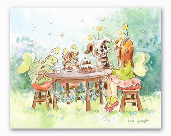 "Garden Party, Original Watercolor Painting by Lita Judge, 8 x 10"""