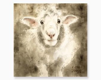Wuddles The Sheep, Art Print by Lita Judge, 8.5 x 8.5 inches