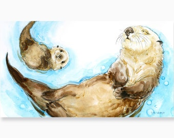 Otter Love, Mama and Baby Otter Art Print by Lita Judge, 9.5 x 17 inches, From the Book Born in the Wild