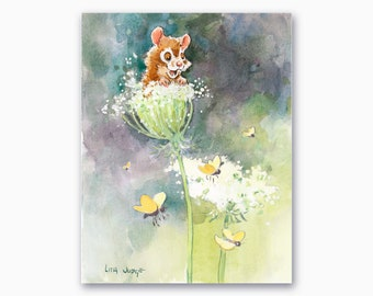 Mousey and Queen Anne's Lace, Mouse Watercolor Painting by Lita Judge, 7 x 9 inches