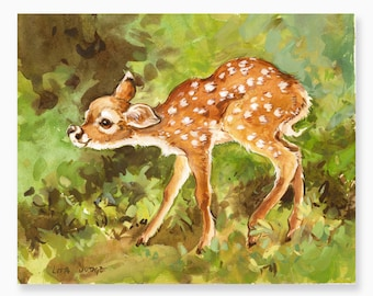 """Fawn, 8 x 10"""" Gouache & Watercolor Painting by Lita Judge"""