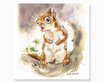 """Red Squirrel, 7 x 7"""" Watercolor Painting by Lita Judge"""