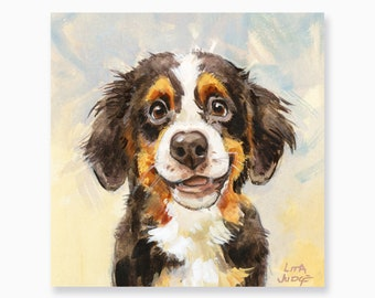 """Doggy Happiness, 6 x 6"""" Gouache & Watercolor Painting by Lita Judge"""