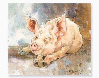 """Piggy, 7 x 8"""" Gouache & Watercolor Painting by Lita Judge"""