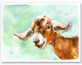 """Goaty Goodness, Original Watercolor Painting by Lita Judge, 8.5 x 6.5"""""""