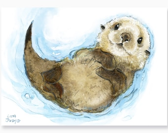 Baby Otter Art Print by Lita Judge, 8 x 10 inches, from the picture book Born in the Wild