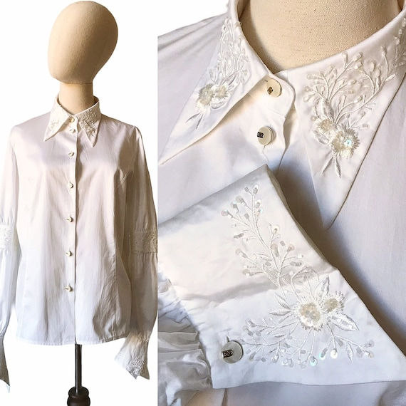 Vintage Escada Blouse Embroidered White Floral 40