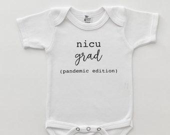 Miracle Baby Handlettered White Gray Long Sleeve Bodysuit Onesie Rainbow Baby Miracle NICU Graduate Preemie