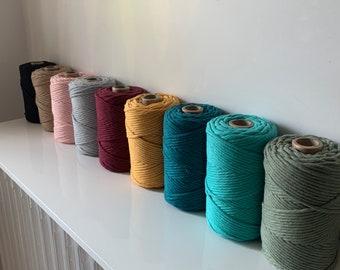 Painted cotton rope, 3mm single twist macramé ball - omywool 10m/15m/20m - macram thread