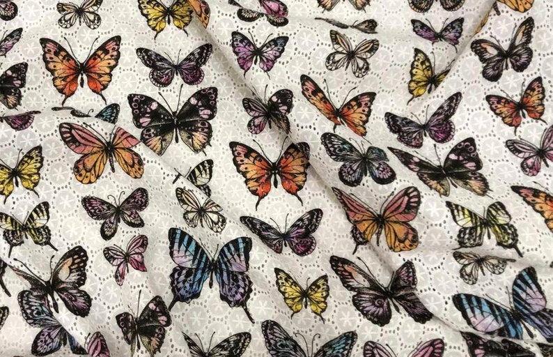 White Embroidered Retro Batiste Butterfly Fabric Cotton Embroidery Fabric Cotton Fabric Scalloped Butterfly Chiffon Fabric.