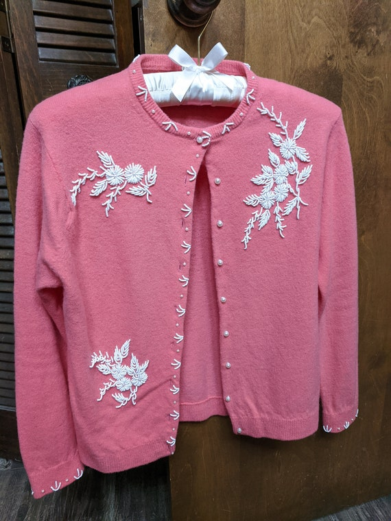 1950's coral beaded wool sweater
