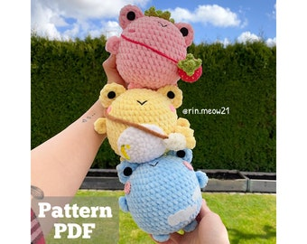 Crochet Pattern - Chubby Squishy Frogs, Strawberry Frog, Sky Frog