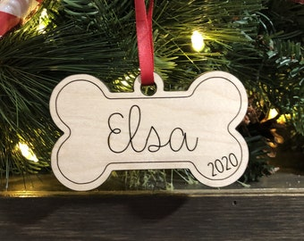 Personalized Dog Bone Engraved Wood Christmas Ornament