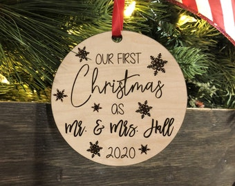 Personalized Newly Married / Wedding Engraved Wood Christmas Ornament