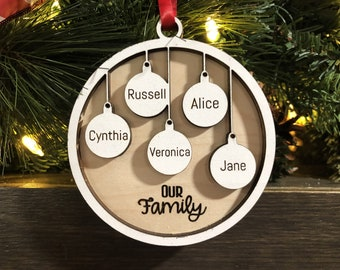 Personalized Family 3D Engraved Wood Christmas Ornament