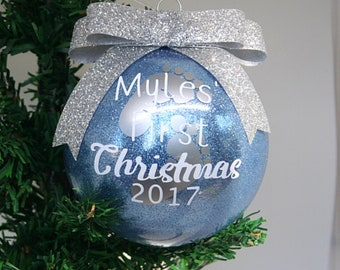 Baby's First Christmas Personalized Glitter Christmas Ornament